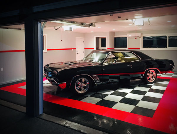 RaceDeck Diamond garage floor tiles in a garage with a classic car.