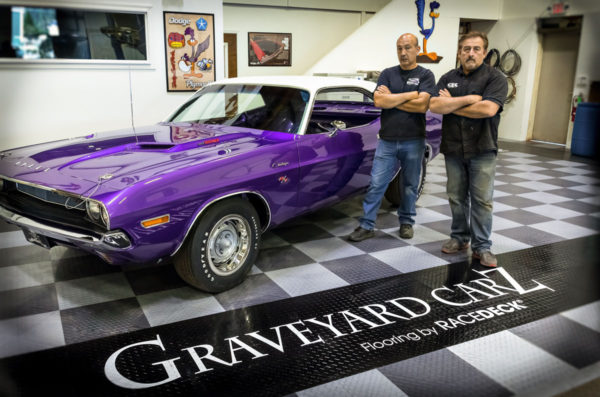 Mark Worman and the 1970 Plum Crazy 440 Dodge Challenger at Graveyard Carz