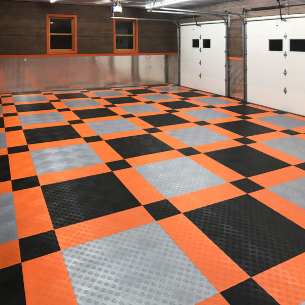 A garage with Harley-Davidson garage floor tiles installed