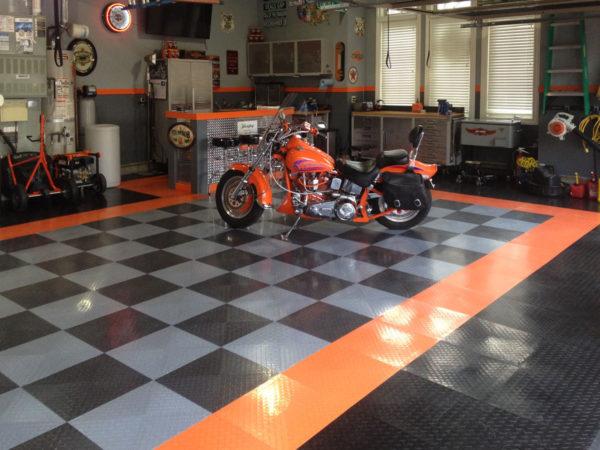 A orange Harley on RaceDeck XL
