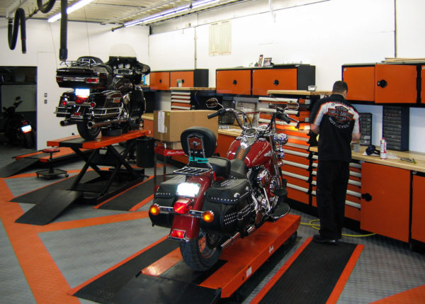 A Harley-Davidson shop with Harley-Davidson flooring
