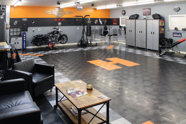 A Harley themed garage with RaceDeck Diamond garage flooring