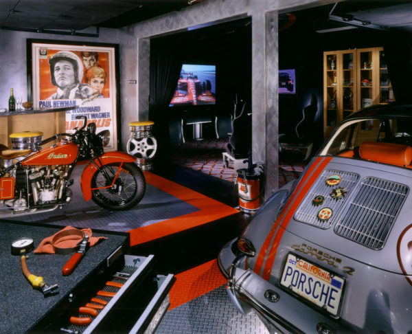 RaceDeck Dimond in a Man Cave with a vintage Indian motorcycle and a vintage Porsche.