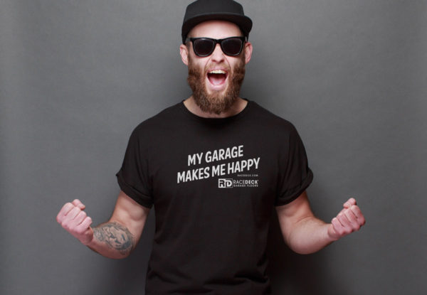 Car guy in a My Garage Makes Me Happy t-shirt